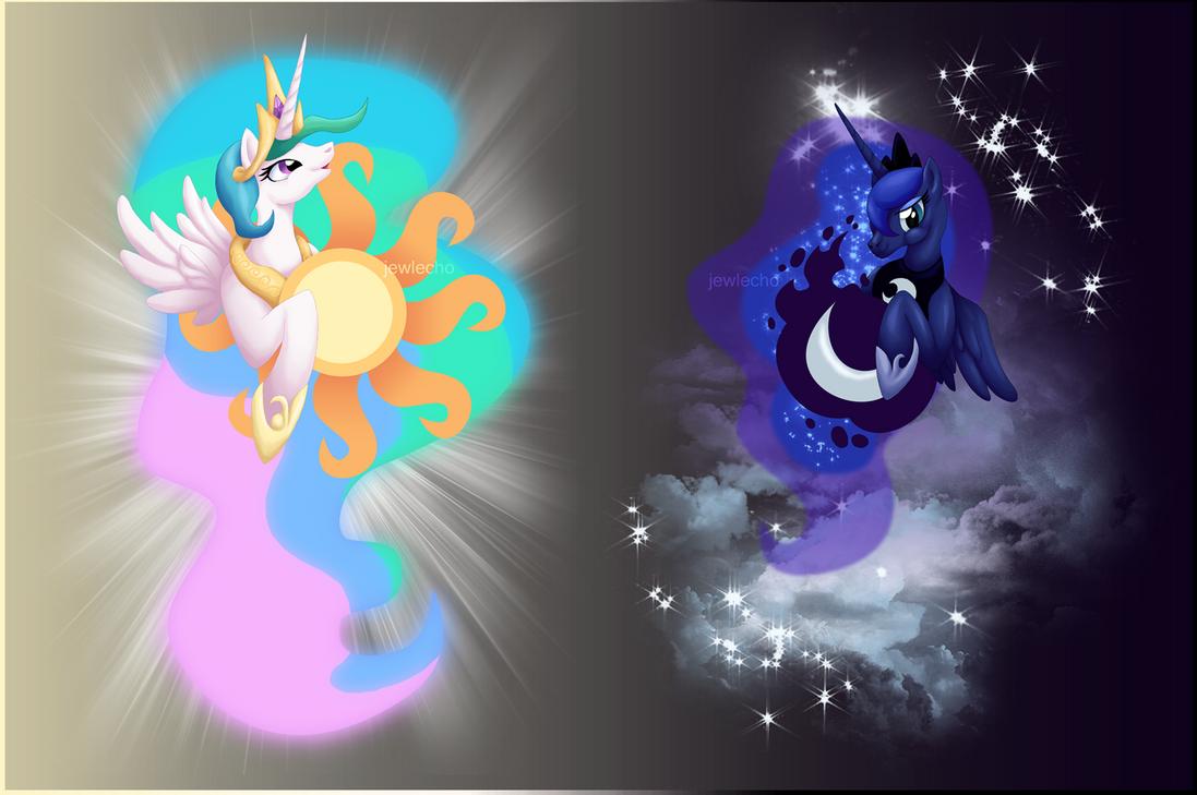 Princess Celestia and Luna Shirt Designs by jewlecho