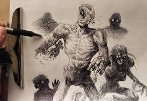 Zombies pen drawing