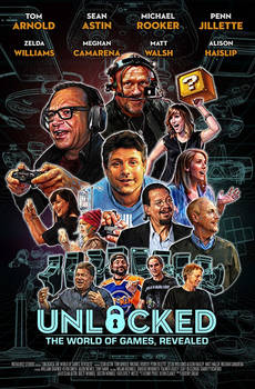 My painted cover for UNLOCKED, video game tv show