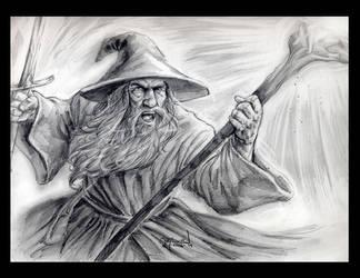 Gandalf 9 x 12 pencil drawing by RayDillon
