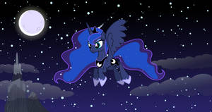 Princess Luna flying in night [Wallpaper]