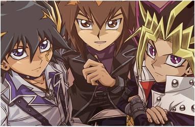 Jaden, Yusei, and Yugi by TheYugiohClub
