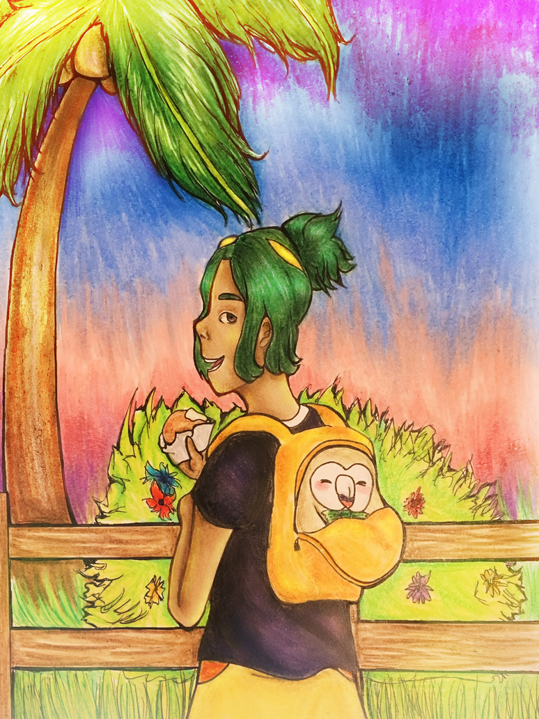 Hau and Rowlet by heleniscool
