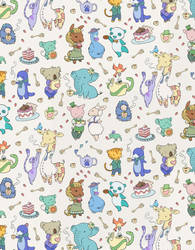 critters with tea, wallpaper detail by LisaBueno