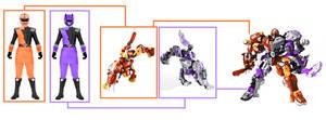 HyperForce Orange and Purple Rangers