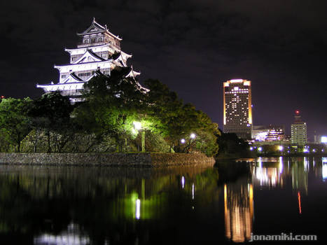 Hiroshima castle by night