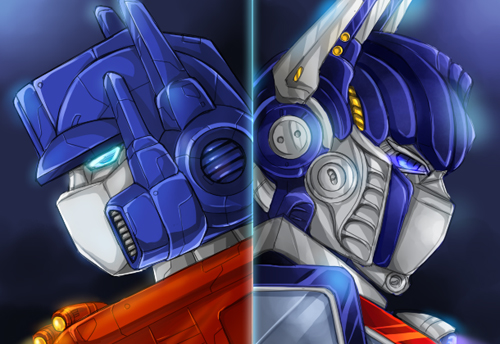 Convoy and Optimus by mucun