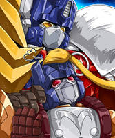 Lio Convoy and Lio Jr. by mucun