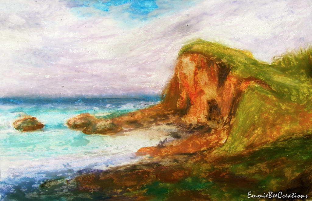 Cliff by the Sea ~ Oil Pastels by EmmieBeeCreations