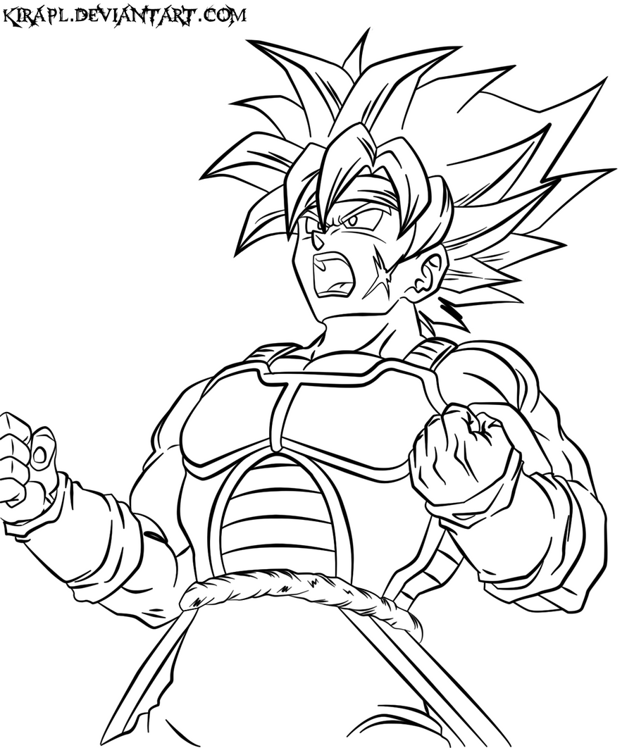 Bardock ssj2 lineart by kirapl on deviantart for Dragon ball super coloring pages