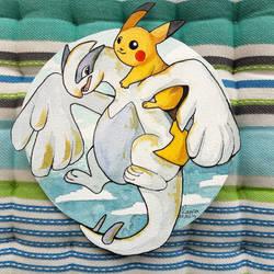 Lugia and Pikachu - watercolours