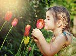 Little girl and Tulips 1