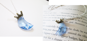 Blue Crown Moon necklace by SparkleSand