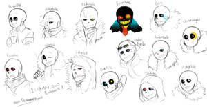 A bunch of Sans by owoSesameowo