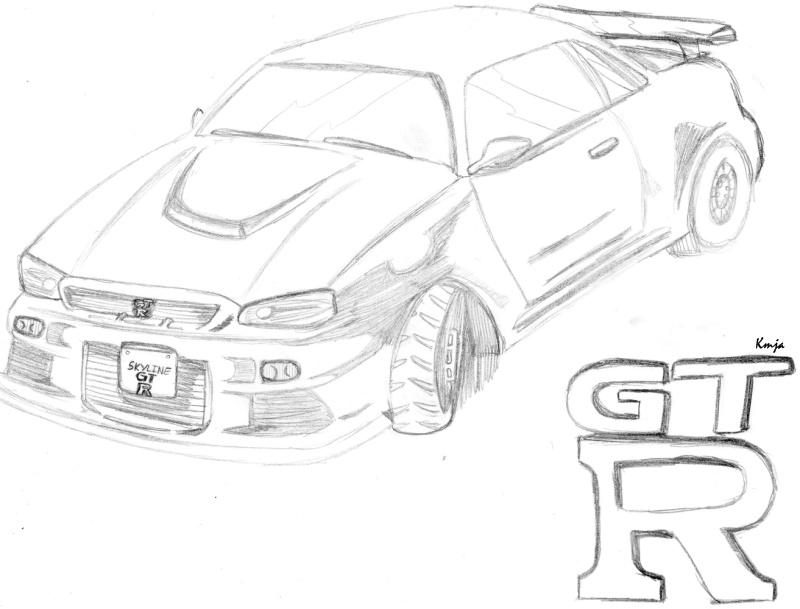 Nissan Skyline R34 Sketch By Conspx Deviantart