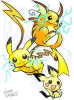 Pichu, Pikachu, and Raichu. by HitoshiAriga