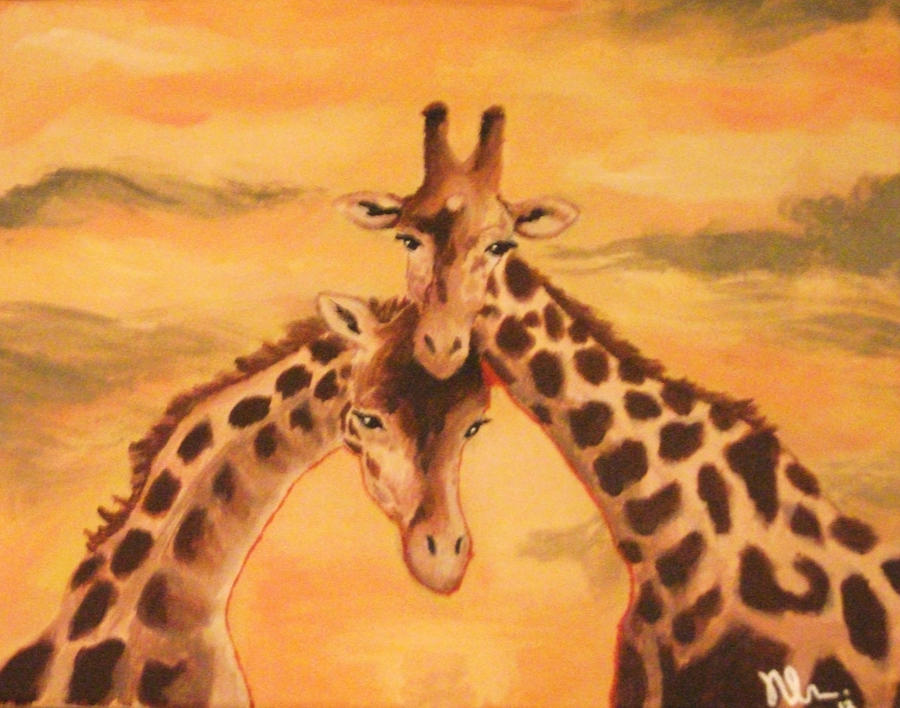 Giraffes In Love Giraffes in Love by Ma...