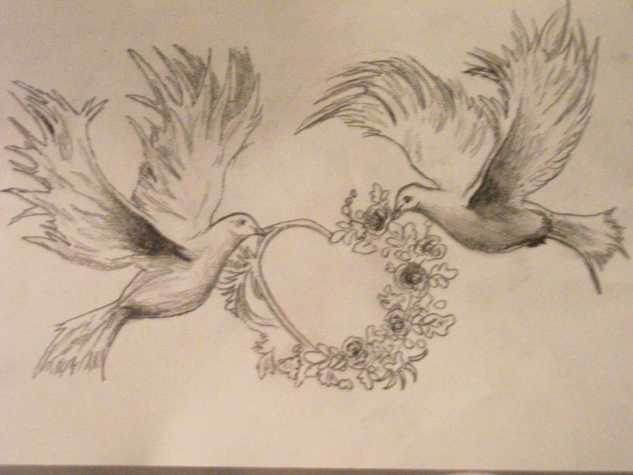 Tattoo design sketch doves by madschquee on deviantart for Two doves tattoo