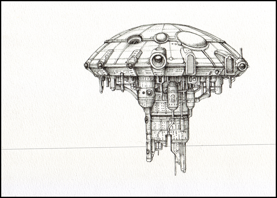 Colossus Hub -line-art by farawayforest