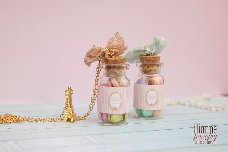 Laduree Macaron Bottle Pendants / Miniatures By