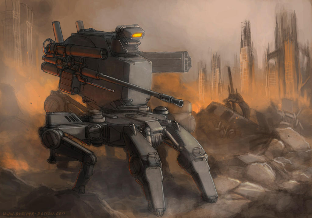 'Hermit Crab' Sentry Robot by MikeDoscher