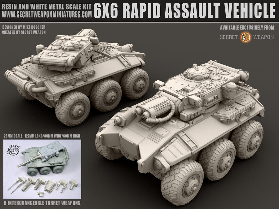 6X6 Rapid Assault Vehicle 28mm Miniature by MikeDoscher