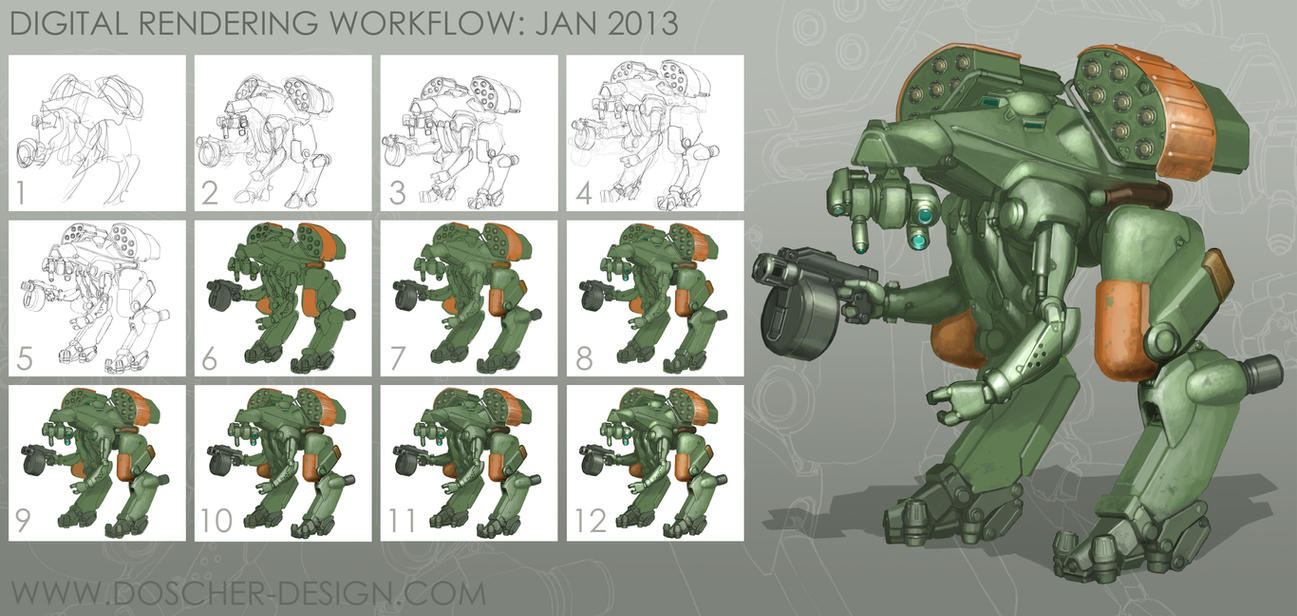 Concept Rendering Process by MikeDoscher
