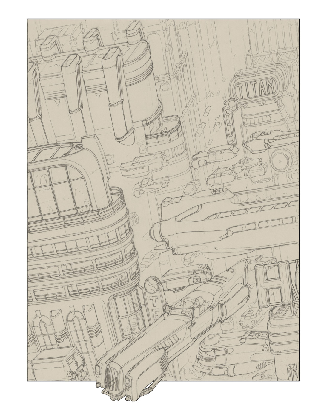 Titan City Terminal - Pencil Sketch by MikeDoscher