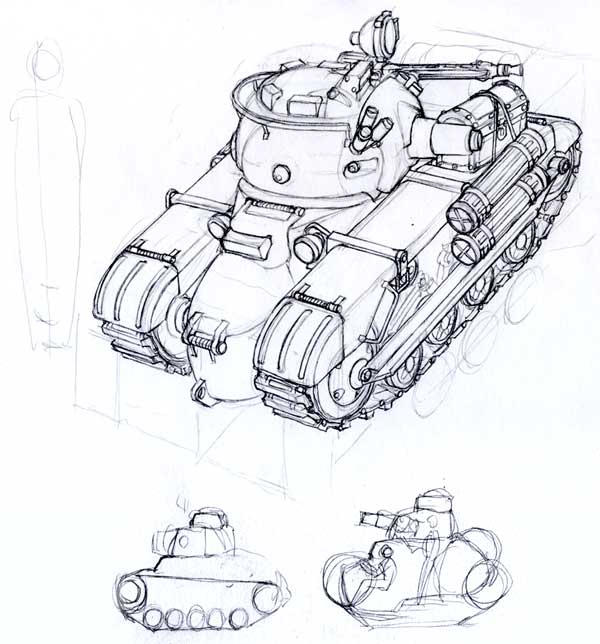 Skorpion light tank sketch by MikeDoscher