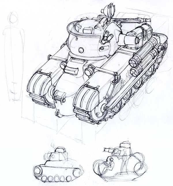 Skorpion light tank sketch by MikeDoscher