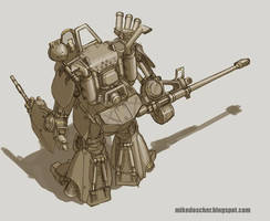 Armored Suit Concept - Rear by MikeDoscher