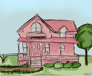 House, Front View by fuzzylilly2