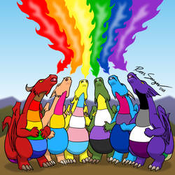 Rainbow Dragons - lgbt pride 2018 by Ross-Sanger