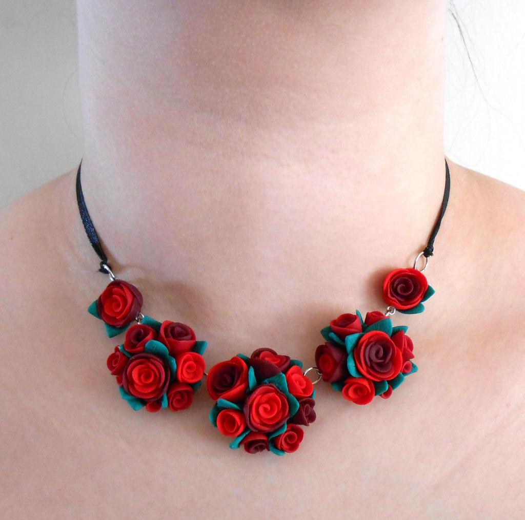 Red flower necklace by JuniperJewelry on DeviantArt