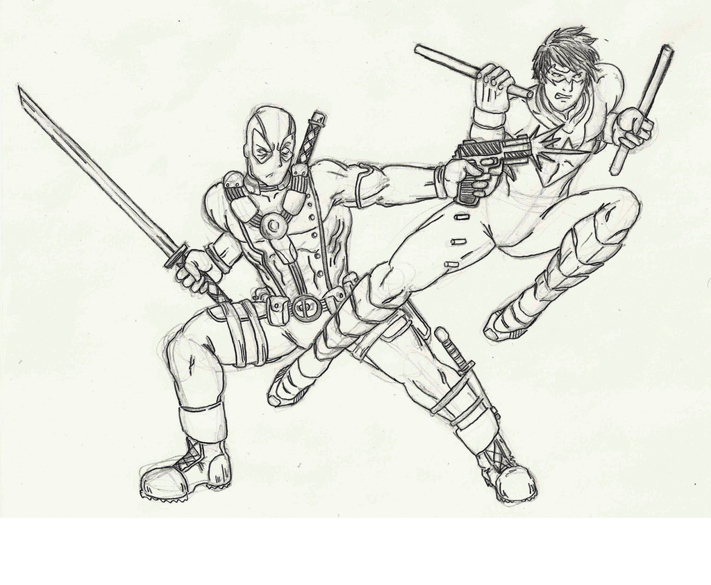 How To Draw Nightwing Deadpool vs nightwing by