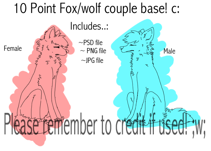 P2U FOX COUPLE BASE/LINEART 10 points! by Ieafeon