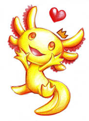 King Awesome vel Anduin the Golden albino axolotl by Z-N-K