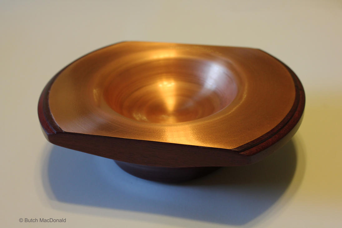 Turned Purple Heart wooden bowl with Brass inlay by TokiiWorks