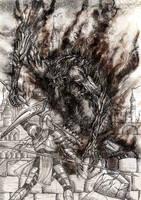 Ecthelion duels Gothmog by lomehir