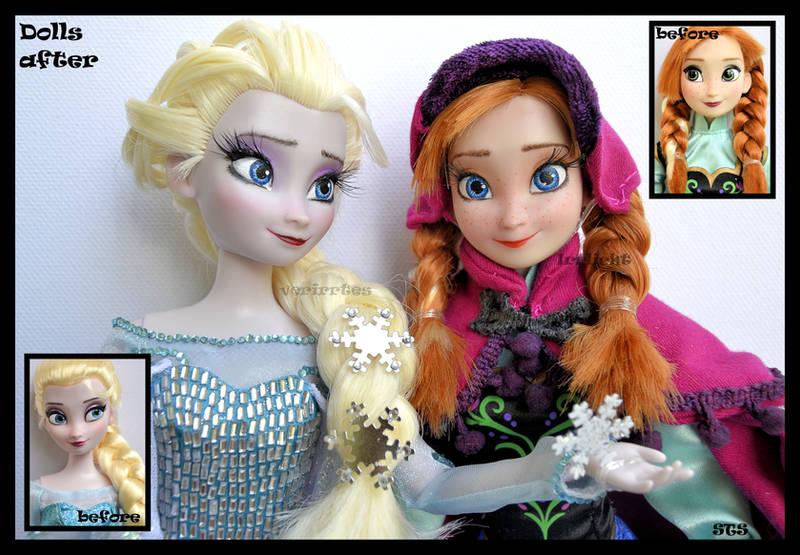 ooak snow queen elsa and snow gear anna dolls. by verirrtesIrrlicht