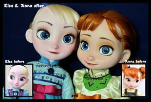 the sky's awake. little anna and elsa ooak dolls. by verirrtesIrrlicht