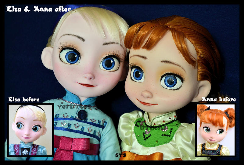 The Sky S Awake Little Anna And Elsa Ooak Dolls By