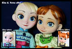 the sky's awake. little anna and elsa ooak dolls.