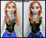 repainted ooak singing anna doll from frozen.