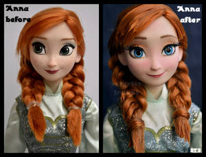 repainted ooak frozen ice skating anna doll.