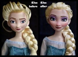 repainted ooak elsa on ice doll.