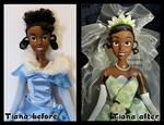 repainted ooak princess tiana doll. - close up.
