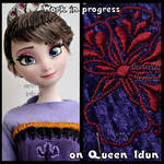 wip. repainted ooak queen idun of arendelle doll.