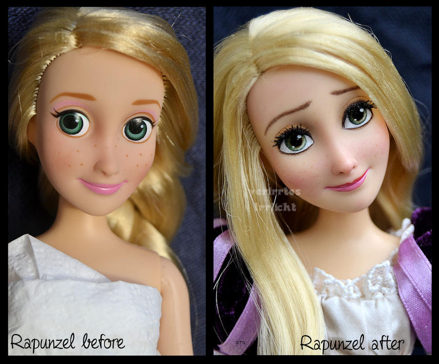 Repainted Ooak Rapunzel Doll Seeing The Lanterns By