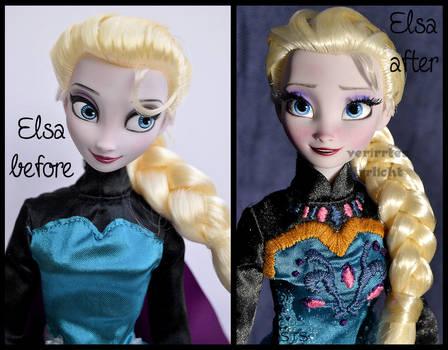 repainted ooak transformation elsa doll.